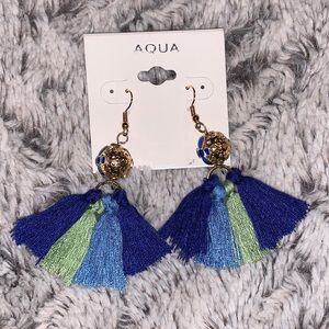 NWT AQUA GOLDTONE ETCHED BALL TASSEL EARRINGS
